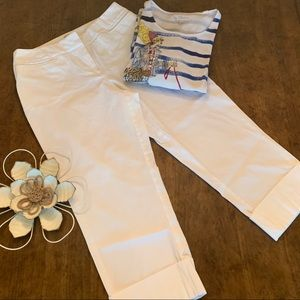 CHICO'S White Large Cuff Ankle Pants